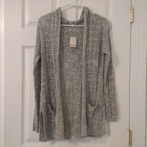 hooded long knit cardigan with pockets